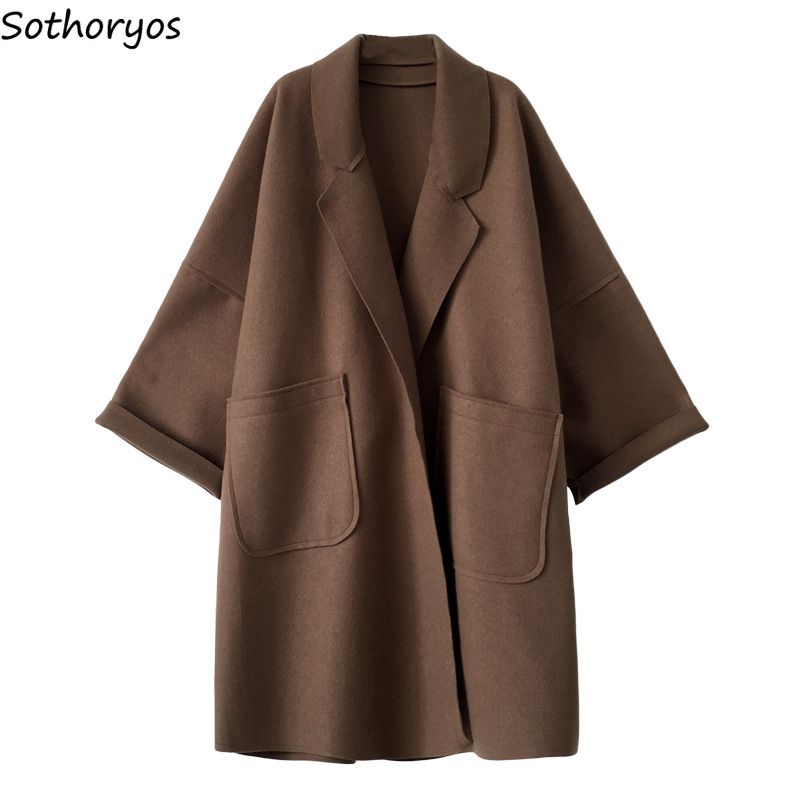 Blends For Women Solid Pockets Long Turn-down Collar All-match Coats Womens Korean Style Plus Size Elegant Trendy Ladies Blend