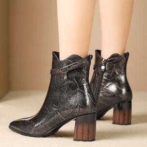 Image 3 - ALLBITEFO แฟชั่นรองเท้าส้นสูงข้อเท้าผู้หญิงของแท้หนัง pointed toe หนาฤดูหนาวหิมะบู๊ทส์สตรี