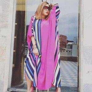 2020 Summer Women Striped Print African Dress Plus Size Short Bat Sleeve Ethnic Ribbon Patchwork Muslim Abaya Kaftan Dubai Robe
