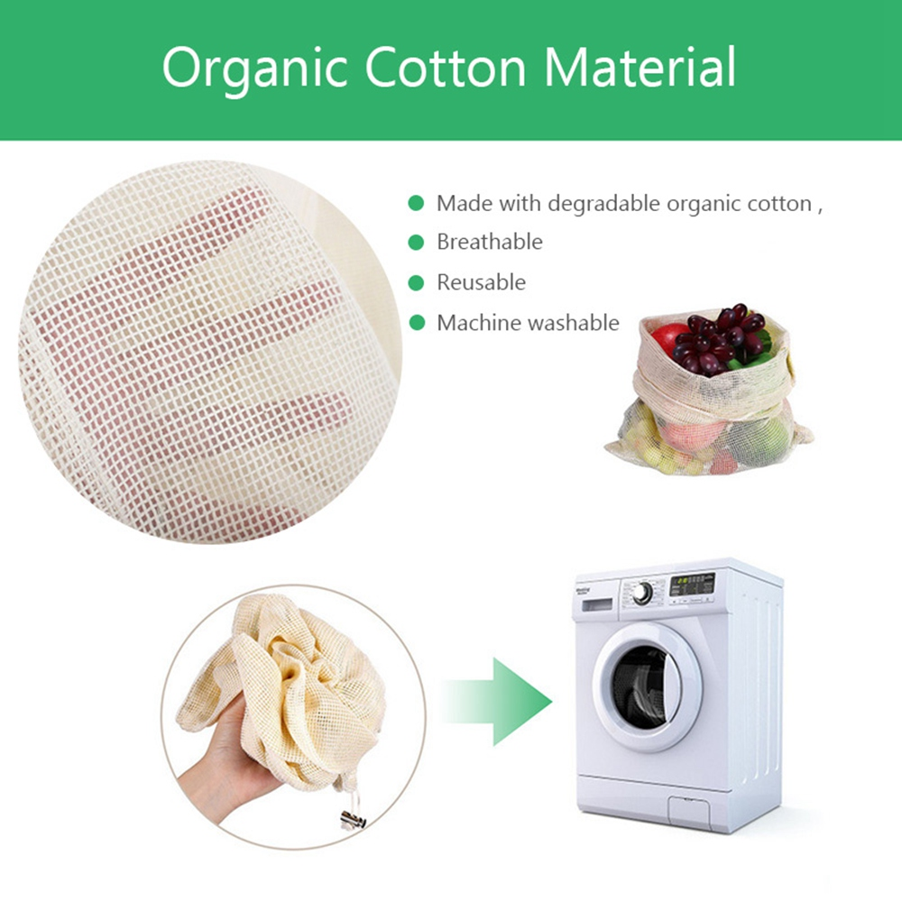 Image 2 - 30pcs 15pcs Reusable Produce Bags Organic Cotton Washable Mesh Bags for Grocery Shopping Fruit Vegetable Organizer Storage Bag-in Bags & Baskets from Home & Garden