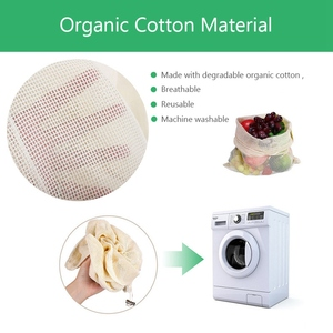 Image 2 - 30pcs 15pcs Reusable Produce Bags Organic Cotton Washable Mesh Bags for Grocery Shopping Fruit Vegetable Organizer Storage Bag