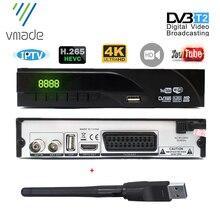 Mais novo DVB T2 receptor digital terrestre suporta youtube h.265/hevc dvb t h265 hevc dvb t2 venda quente europa com usb wi fi
