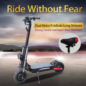 Patinete eléctrico para adulto de 11 pulgadas con asiento, 60V, 3200W, Motor Dual, potente, todoterreno, plegable