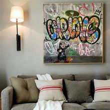 Cartel de lona con dibujo de graffiti art One Love Gargamel, carteles abstractos de pared, sala de estar impresiones para, imágenes para decoración para habitación