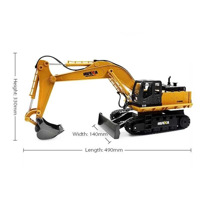 1/16 11CH โลหะผสมวิศวกรรมรถบรรทุกอิเล็กทรอนิกส์โลหะ RC รถก่อสร้างเครื่องจักร RC ของเล่นรถรถบรรทุก HuiNa 1510