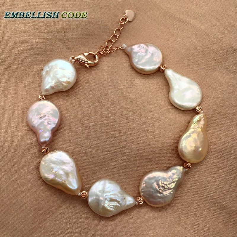 baroque pearl bracelet bangle Adjust length mixed color teardrop coin flat shape natural freshwater pearls red golden 3mm beads
