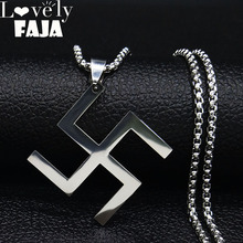 2019 Fashion Hexagram Back Silver Color Stainless Steel Necklaces Pendants Jainism Hinduism Jewelry Lucky collares N19448
