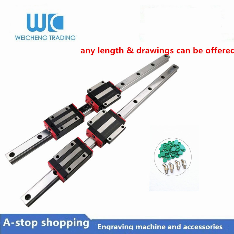 2pc Linear Rail Guide HGR20 HGH20 Any Length+4pc HGH20CA Linear Narrow/Flange Carriges Sliding Block HGW20CC Cnc Parts