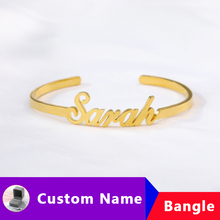 купить Stainless Steel Custom Bracelet For Women Pulseras Mujer Personalized Name Bracelet Bangle Customized Charm Bracelets Armband дешево