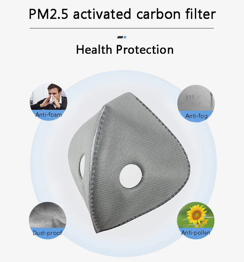 5/10/20/50 Pcs Cycling Mask Filter Pad Breathable Air Grey High Quality 5-layer Activated Bamboo Charcoal PM2.5 Non-woven Chip