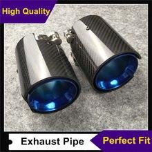 1 PCS מלא פחמן + כחול חרירים זנב M ביצועים פליטה סוף צינורות עבור M1 M2 M3 M4 M5 M6 x3 X4 X5 X6 פליטה טיפים