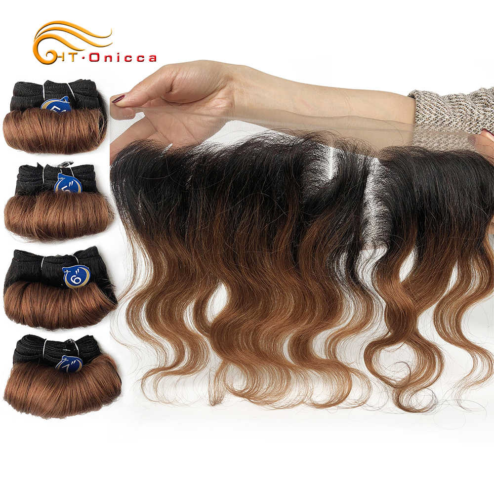 Body Wave Bundels Met Frontale Braziliaanse Krullend Haar Weave Bundels Krullend Wave Bundel Met 13*4 Frontale Remy Human hair Extensions