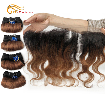 Body Wave Bundles With Frontal Brazilian Curly Hair Weave Bundles Curly Wave Bundle With 13*4 Frontal Remy Human Hair Extensions ombre human hair blonde 3 bundles with frontal t1b 4 27 remy brazilian hair weave body wave bundles with frontal alimice