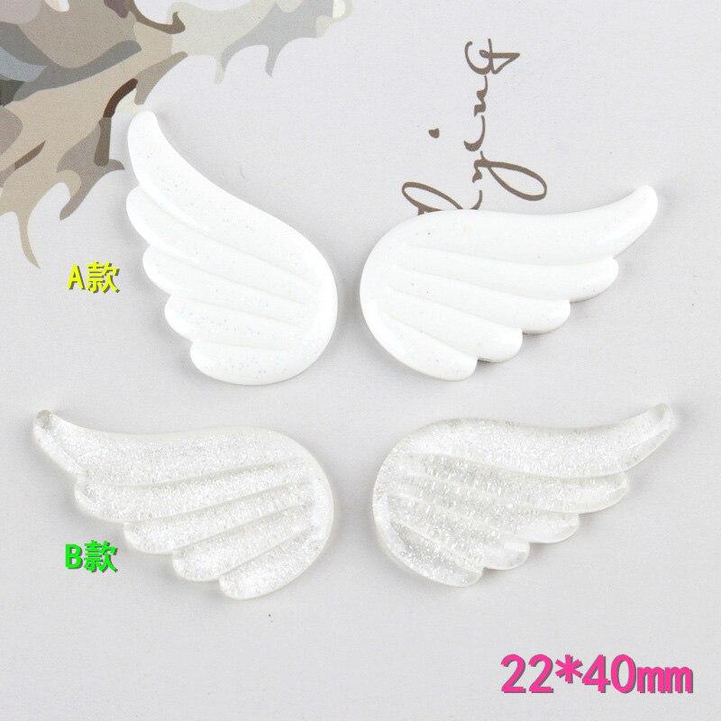 10Pcs Kawaii Cute Glitter Angel Wings Flatback Resin Cabochon Scrapbooking Embellishment Phone Deco DIY Decoration Craft 22*40mm