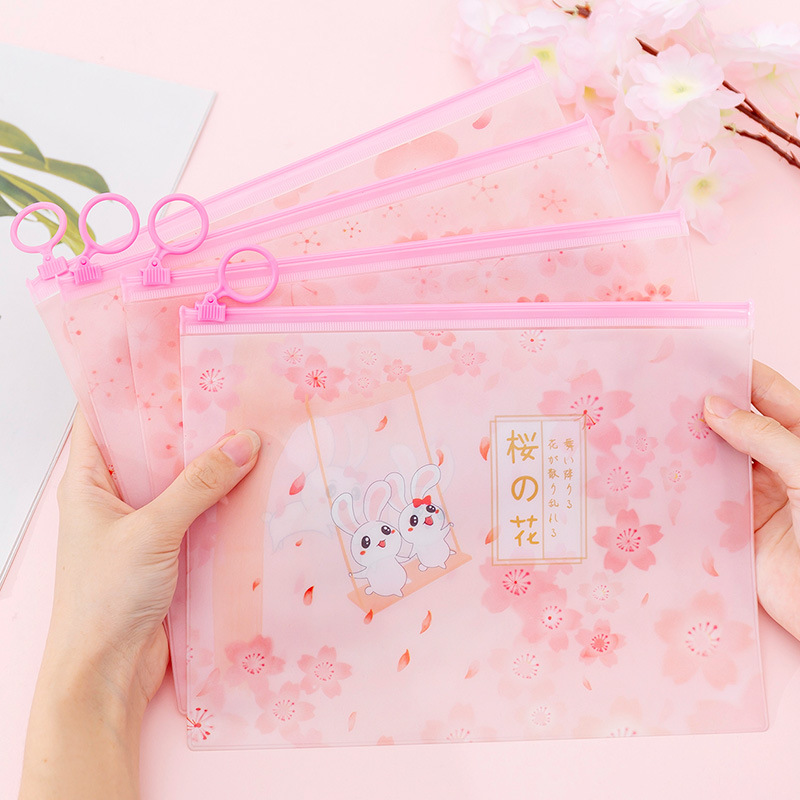 Cherry Sakura Kawaii Rabbit PVC Finger Ring Zipper Dustproof File Folder Document Filing Bag Stationery Bag