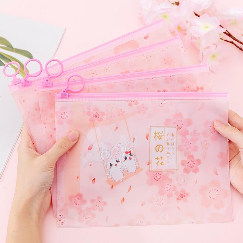 Cherry Sakura Kawaii Rabbit PVC Finger Ring Zipper Dustproof File Folder Document Filing Bag Stationery Bag