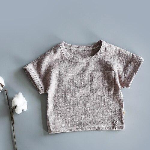 Японская хлопковая тонкая футболка в стиле ретро с коротким рукавом из конопли для малышей летняя рубашка из бамбукового хлопка с коротким рукавом для мальчиков и девочек - Цвет: Коричневый