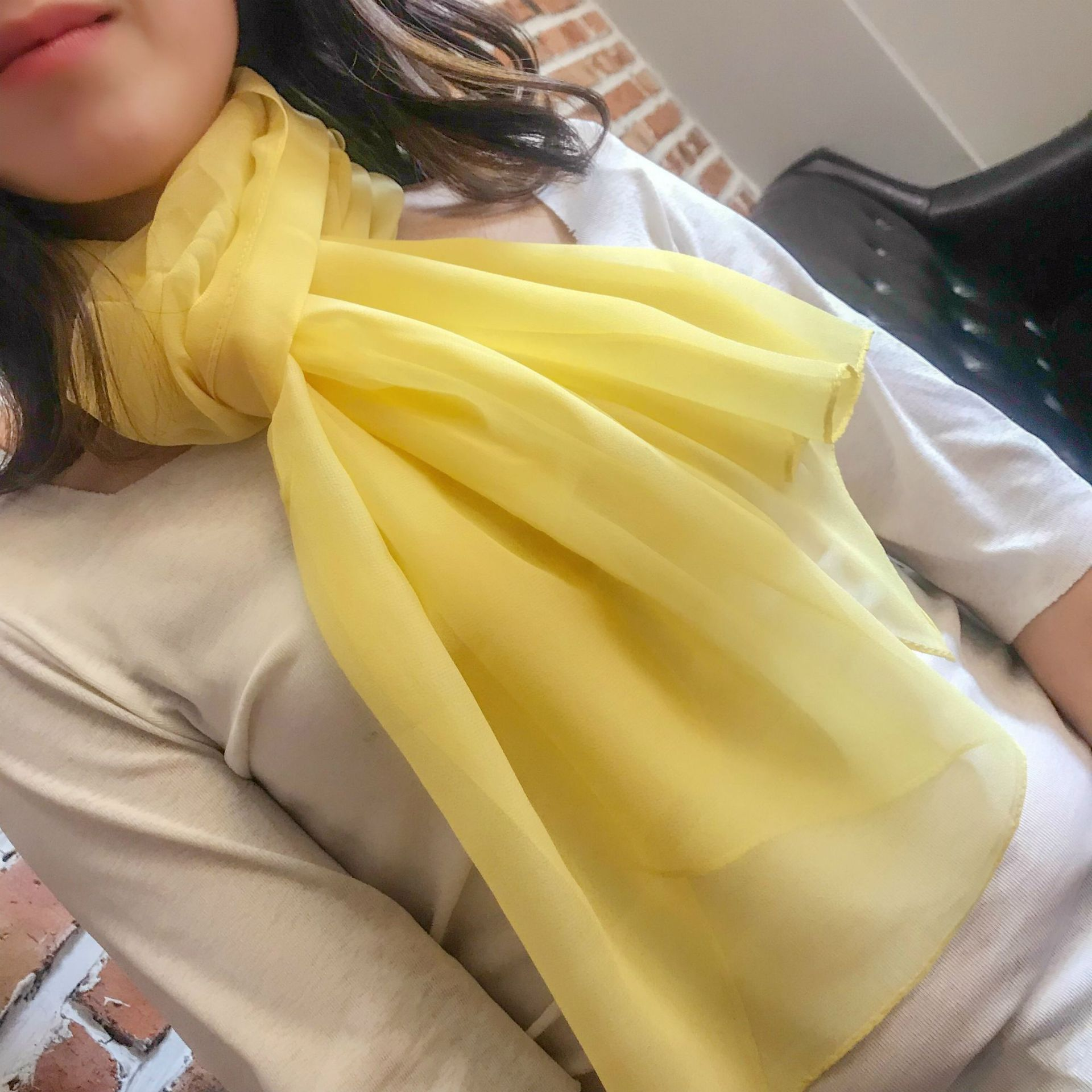 Spring Summer New Style Women's Chiffon Scarf Shawl Fashion Solid Color Thin Silk Scarves Scarf