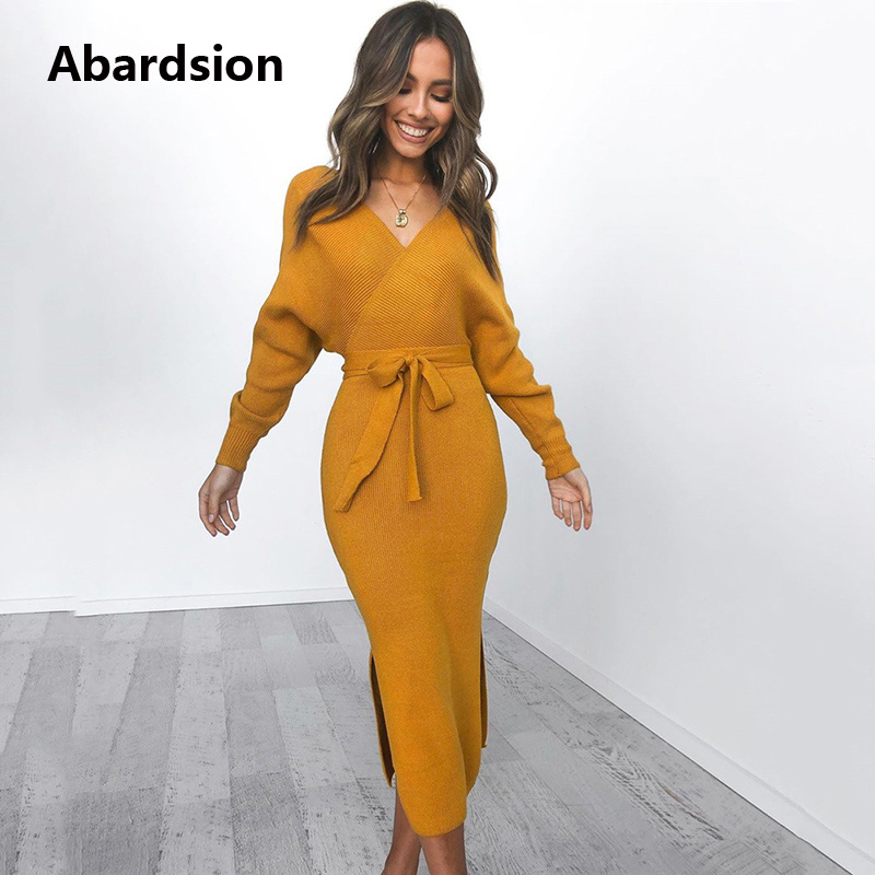 Abardsion Women Knitted Sweater Dress Wrap Belted Tunic Midi Vestidos Long Sleeve Double V Neck Split Casual Autumn Dresses 2019