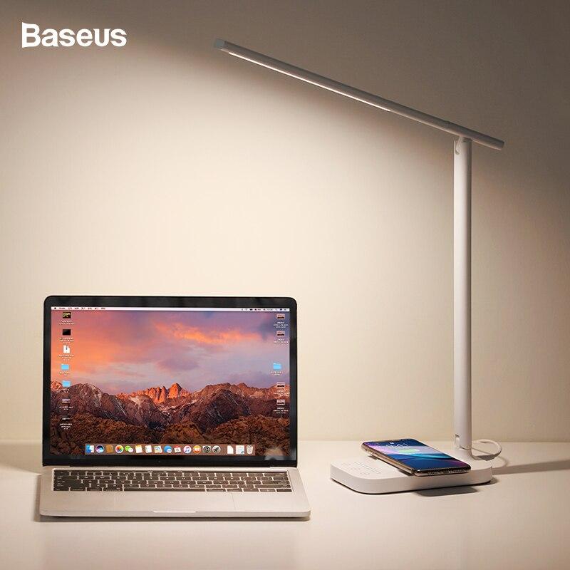 Baseus LED 테이블 램프 Qi 무선 충전기 아이폰 xs에 대 한 삼성 접는 데스크탑 빛 10W 빠른 무선 충전 패드 책상 램프