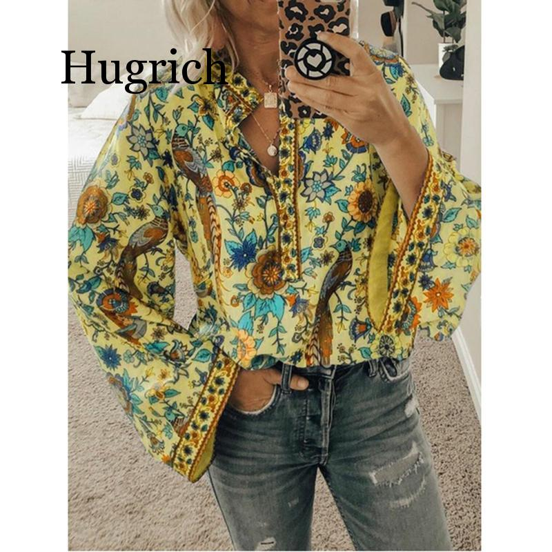 2020 New Hot Vintage Women Autumn Summer Boho Floral V-Neck Oversize Blouse Tops Plus Size S-XL Loose Ladies Shirts