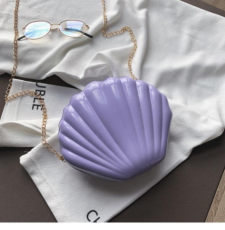 Seashell Shape Shoulder Bag Laser Mermaid Sea Shell Chain Purse Cross Body Satchel Messenger Cross Body Shoulder Purse Bag