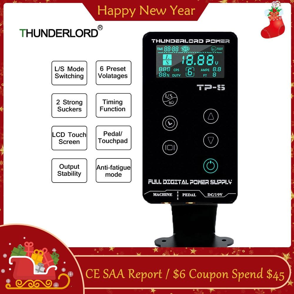 THUNDERLORD Tattoo Power Supply TP-5 Intelligent Digital LCD Touch Screen Makeup For Rotary Pen Gun Tattoo Machine Supplies