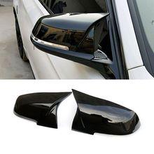 2pcs Auto Car Rear View Side Mirror Cover Trim For BMW F20 F21 F22 F23 F30 F31 F32 F36 X1 E84 F87 M2 Carbon Fiber Style universal replacement carbon fiber mirror cover for bmw rearview door mirror covers x1 f20 f22 f30 gt f34 f32 f33 f36 m2 f87 e84