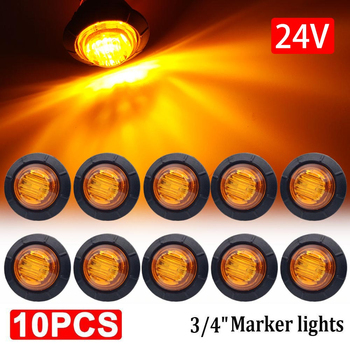"10pcs Waterproof 24V 3LED 3/4"" Round Trailer Side Marker Lights Front Rear Trucks Tractors Clearance Lights Lamp Bullet Amber"