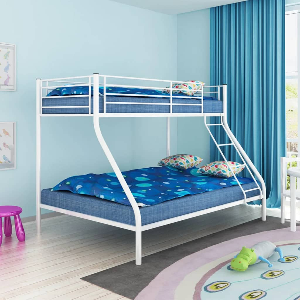 VidaXL Children's Bunk Bed Frame White Metal 140x200/90x200 Cm