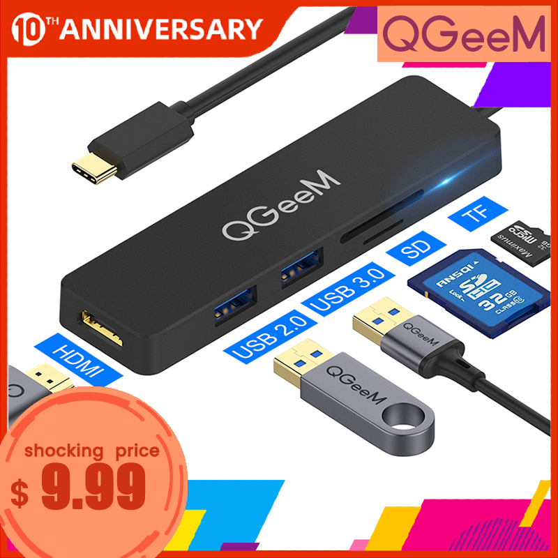 QGeeM USB C Hub For Macbook Pro Type C Hub To HDMI USB 3.0 TF SD Multi USB 3.1 Hub Adapter For IPad Pro OTG Splitter USB C Dock