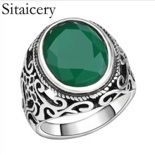 Sitaicery Vintage Tibetan Big Green Oval Resin Ring Men Accessories Punk Rock Biker Signet Jewelry Wholesale
