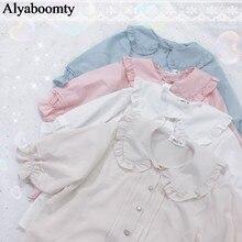 Japoński lato kobiety styl Lolita bluzka kołnierz piotruś Pan biały morela różowy niebieski kobiet Blusas śliczne Kawaii Ruffles dziewczyny góry