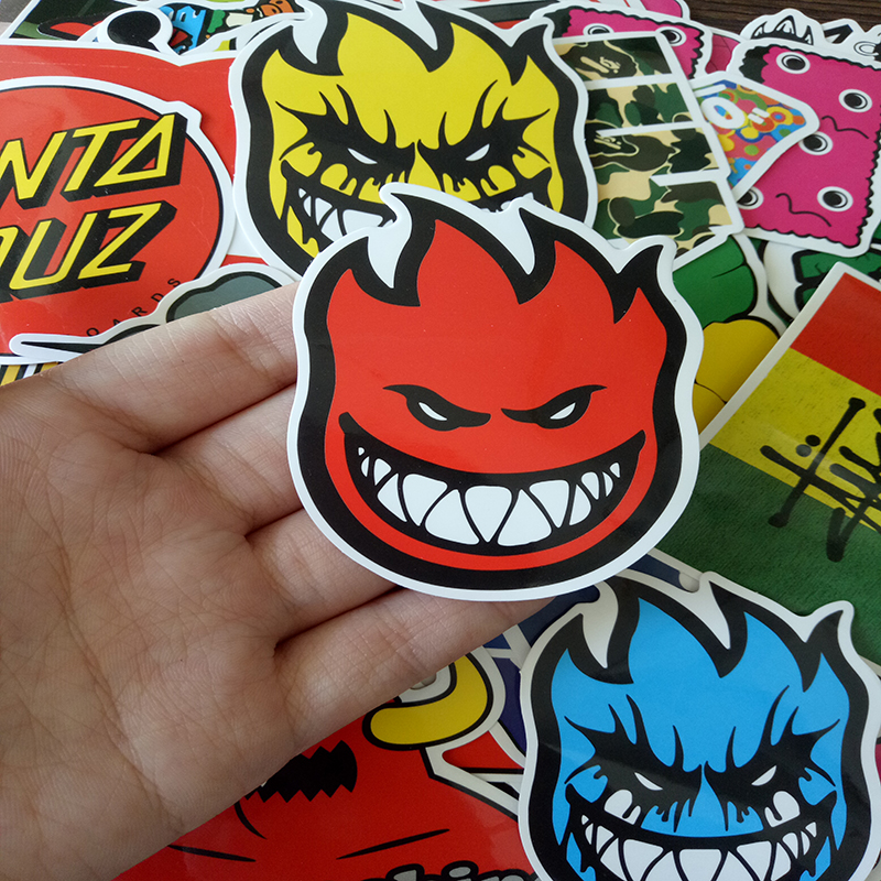 Image 4 - 100 PCS Skateboard Fashion brand Logo Waterproof Sticker For Luggage Car Guaitar Skateboard Phone Laptop Stickers-in Stickers from Toys & Hobbies