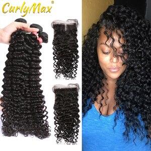 CurlyMax 28 30 дюймов глубокая волна пряди с закрытием бразильские человеческие волосы 3 4 пряди кудрявые с 4x4 Clsoure Remy волосы для наращивания