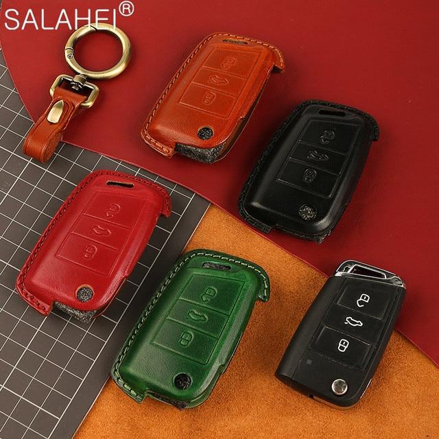 Leather Car Key Case Shell For Volkswagen VW Polo Golf 7 MK7 Tiguan passat For Skoda Octavia Kodiaq Karoq For Seat Ateca Leon FR