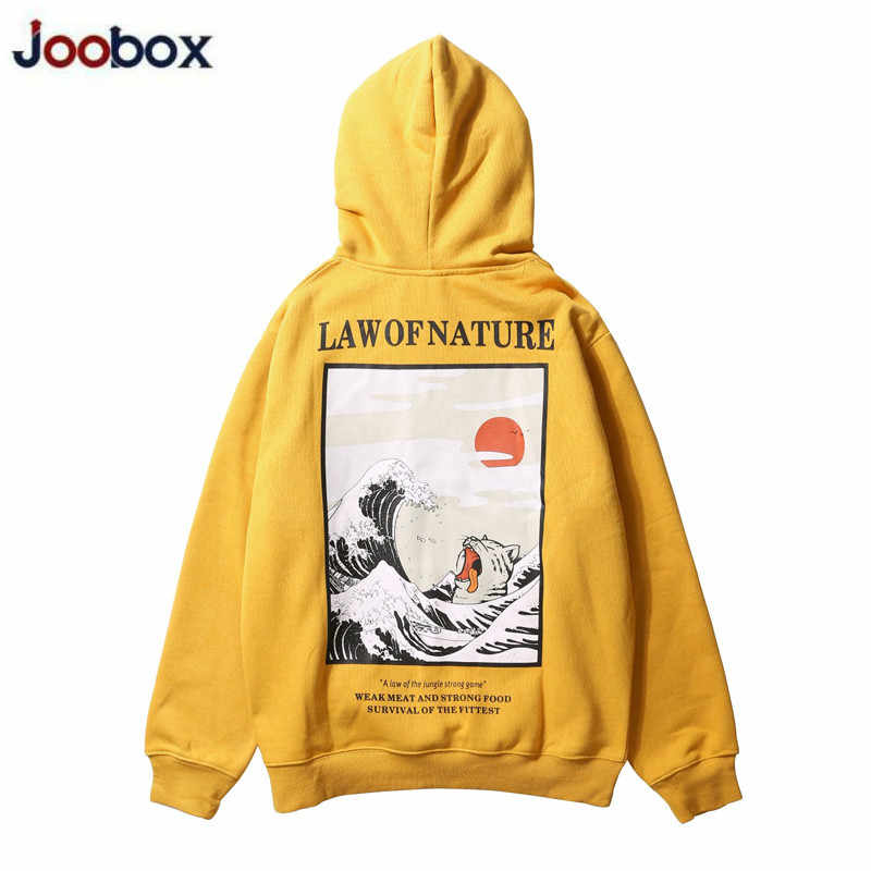 Japanse Borduren Grappige Kat Wave Gedrukt Fleece Hoodies 2019 Winter Japan Stijl Hip Hop Casual Sweatshirts Streetwear 2019 Nieuwe