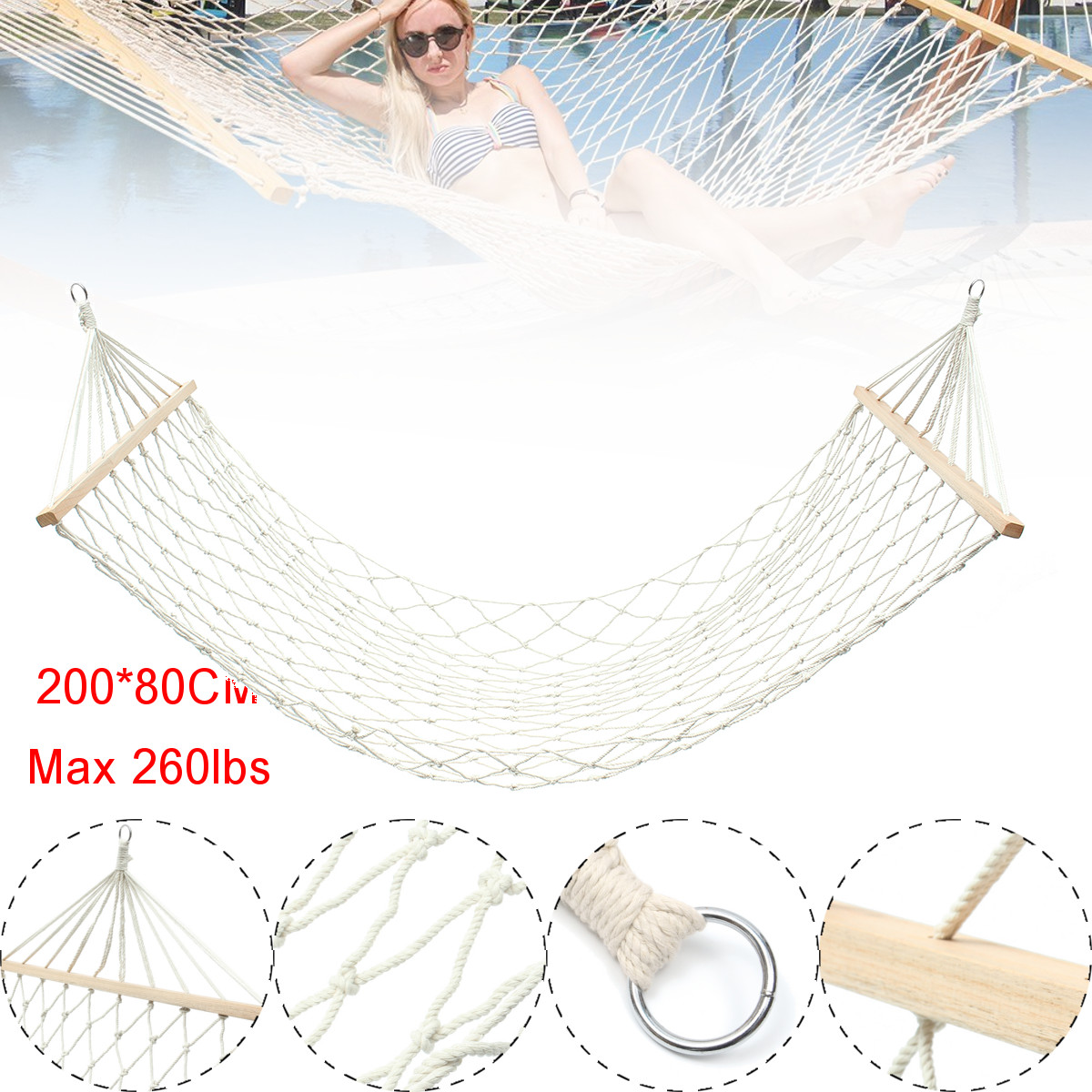 200 X 80cm White Outdoor Mesh Cotton Rope Swing Hammock Hanging On The Porch Or On A Beach