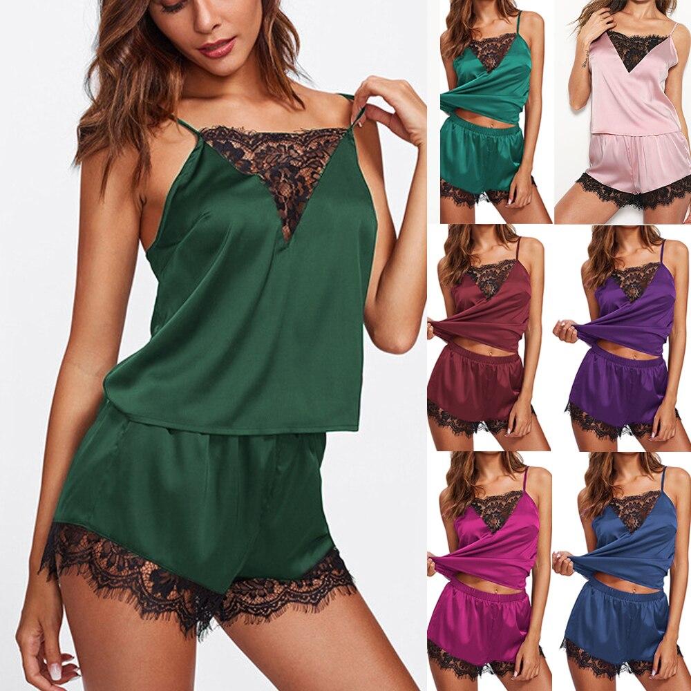 Sexy V-ausschnitt Pyjamas Set Frauen Spaghetti Strap Ärmelloses Nachtwäsche Anzug Komfort Satin Plus Größe Nachtwäsche Dessous Shorts Set