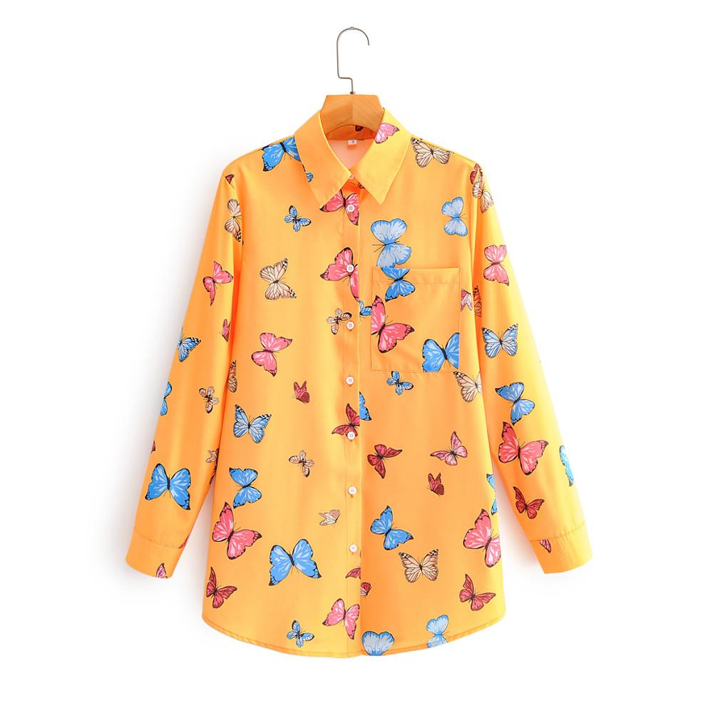 New 2020 Women Fashion Colorful Butterfly Print Casual Smock Blouse Office Lady Long Sleeve Pocket Shirt Chic Blusas Tops LS6660