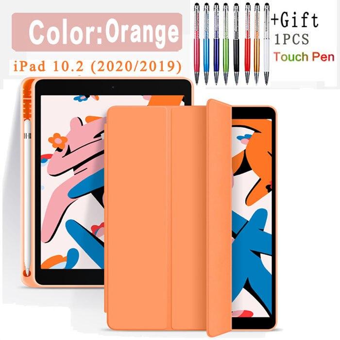 Pencil Case-Orange Gray Funda Case For Apple iPad 10 2 2020 2019 flip Case with Pencil Holder For iPad