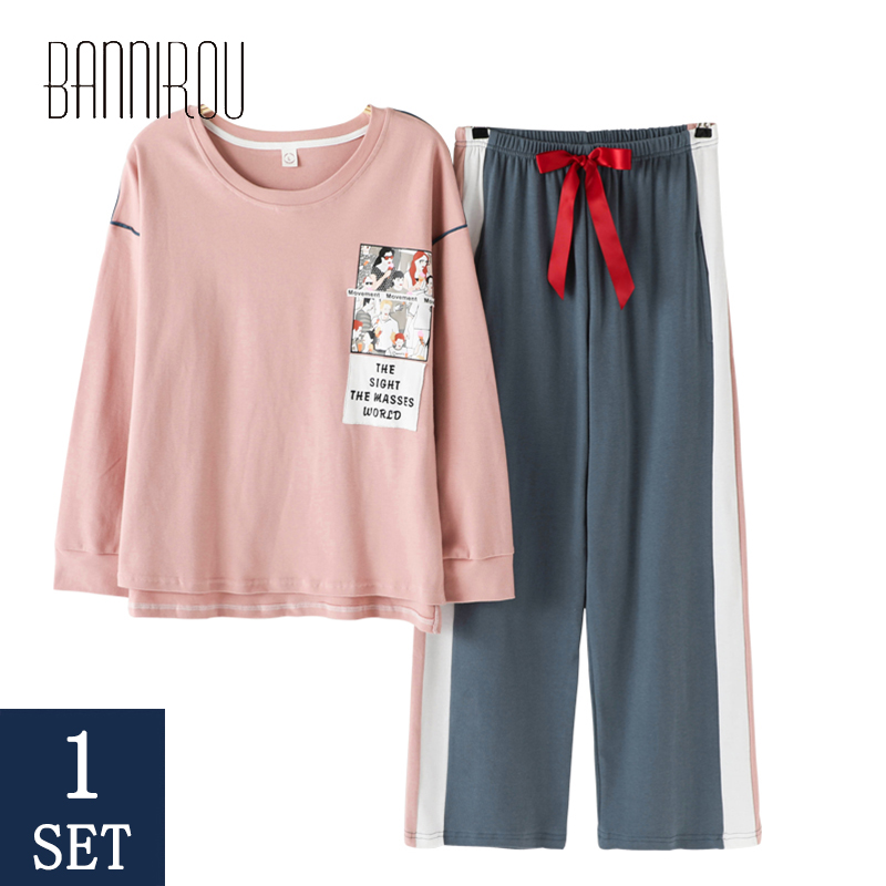Woman Pajamas Sets Female Home Wear Sets Sleep Colthes For Woman 2 Pcs High Quality Cotton Cure Pink Pyjamas Sets Spring 2020