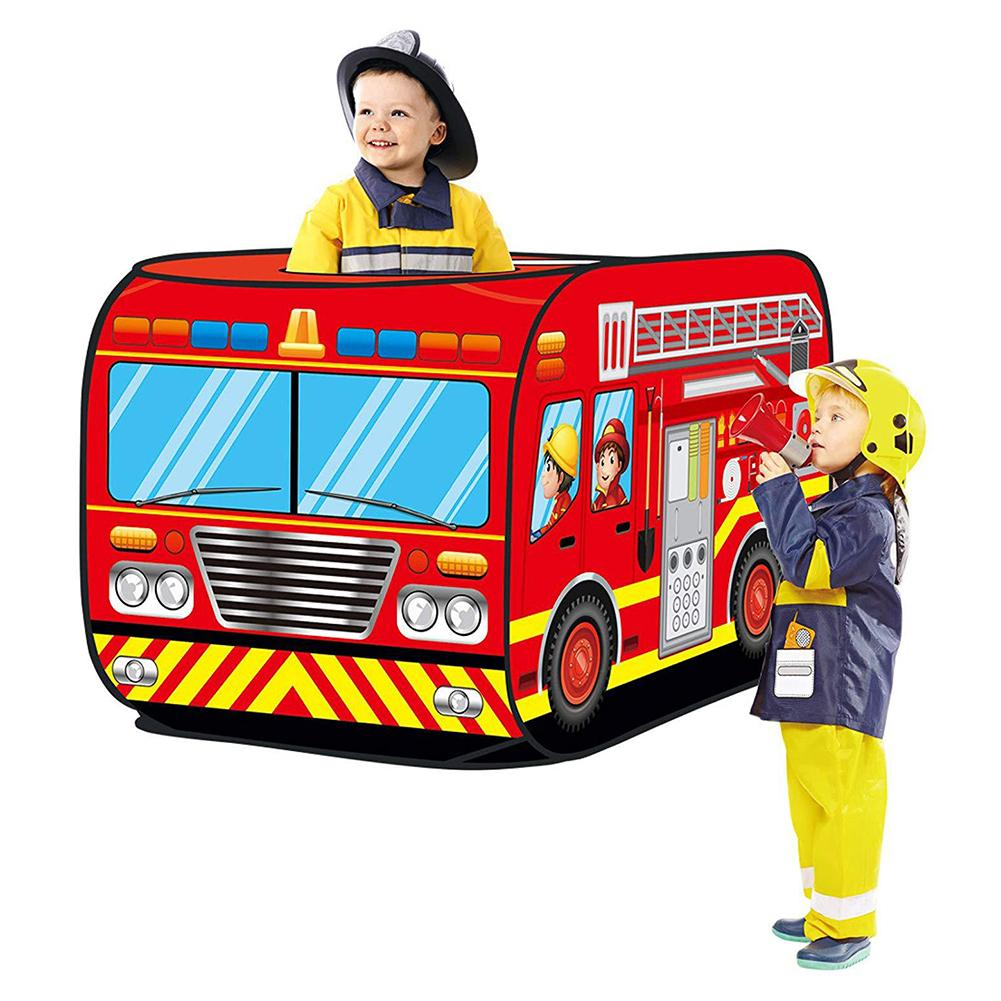 Fire Truck Car Pop-up Toy Tent Foldable Playhouse Cloth Fire Truck Police Car Game House Bus Children Tent