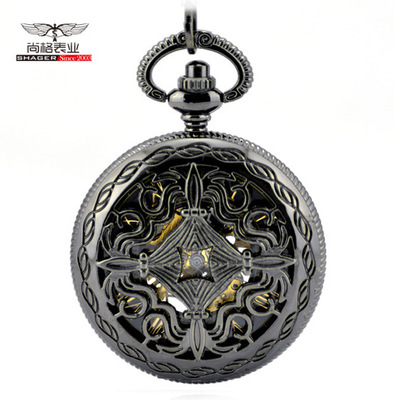 Vintage Charm Black Fob Pocket Chain Men Women Hand Wind Mechanical Pocket Watch Skeleton Gears Bronze