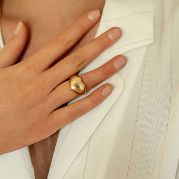 18 K Gold Heart Band Statement Ring Jewelry K-Gold Jewelry