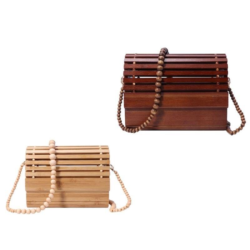 Women Fashion Bamboo Handbag Shoulder Lady Summer Beach Bag Tote Messenger Purse M5TE