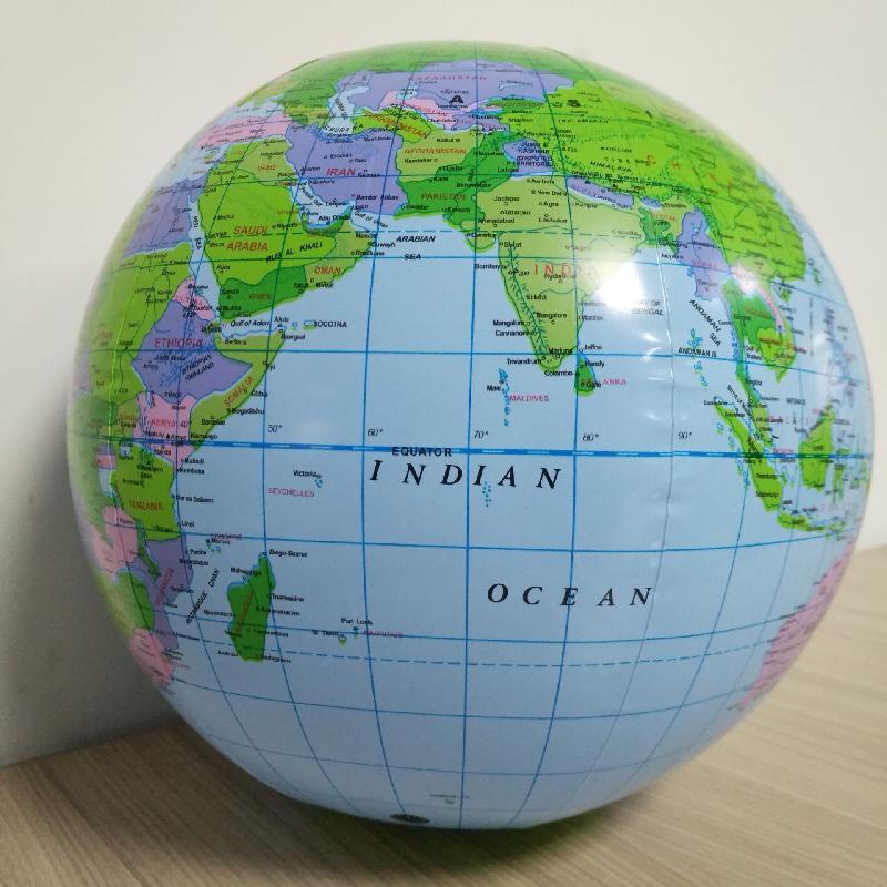 Globo inflable de 16 pulgadas, mapa del mundo Tierra, Océano, pelota de aprendizaje de geografía, pelota de playa educativa para niños, suministros educativos de Geografía
