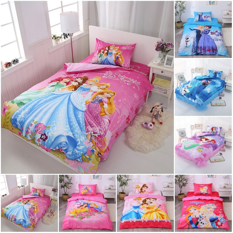 Discount! Disney 100% Cotton 3 Princess Romantic Garden Bedding Set Duvet Cover Pillowcase For Baby Girls Kids Bed Birthday Gift