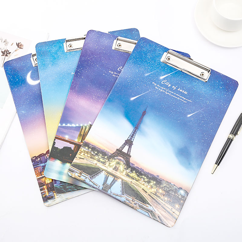 Wood Clipboard A4 A5 Eiffel Tower Paris Writing Pad Clip Board Folder Office School Supply Item Paper Holder Storage Stationery
