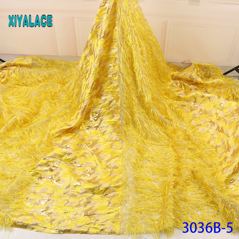 Yellow Orange African Lace Fabric High Quality Wedding Lace Fabric 5yards Brocade Fabric For Nigeran Jacquard Lace YA3036B-5